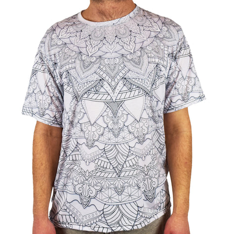 White Mandala Short Sleeve Tee Shirt by Cameron Gray