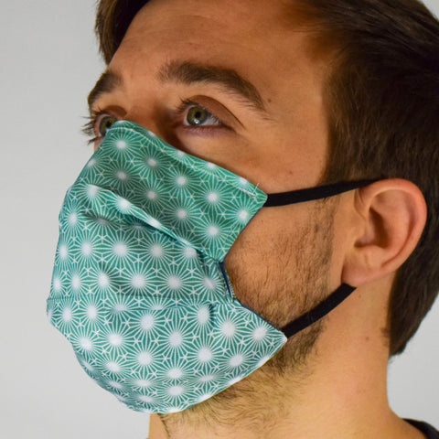 Geo Burst Green Surgical PPE Face Mask by Dima Yastronaut