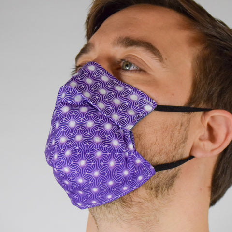 Geo Burst Purple Surgical PPE Face Mask by Dima Yastronaut