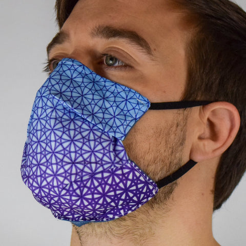 Geo Seed Blue & Purple Surgical PPE Face Mask by Dima Yastronaut