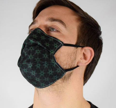 Geo Tri Blue Surgical PPE Face Mask by Dima Yastronaut