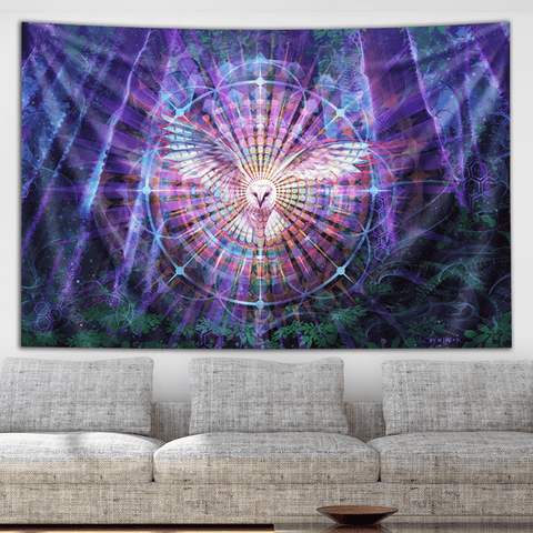 Visionary Artist Simon Haiduk Night Vision Trippy Tapestry by Third Eye Tapestries