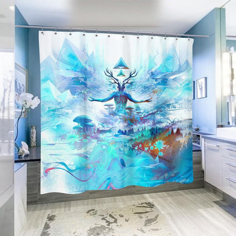 Hikari Mantra Shower Curtain by Totemical
