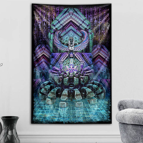 Blue Lotus Tapestry by Dima Yastronaut