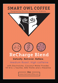 ReCharge Coffee, coffee, organic coffee, supplement coffee, organic coffee, infused coffee, ground coffee, coffee beans, gourmet coffee, taurine coffee, l-theanine coffee, theanine, detox coffee, high caffeine coffee, cofee, coffe, smart owl coffee