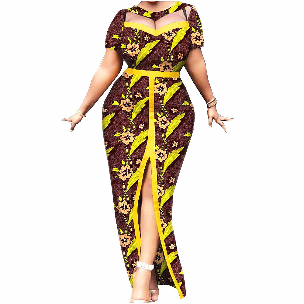 100% cotton--african real wax flower printed dress--1925003-1