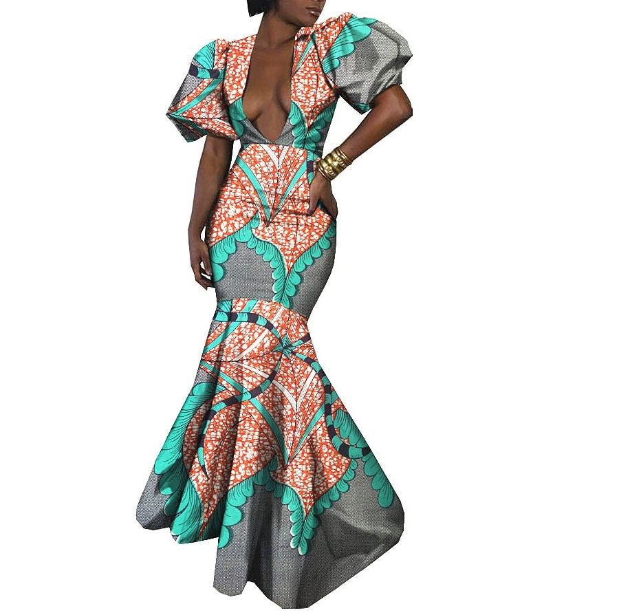 100% cotton--african real wax flower printed dress--1825044