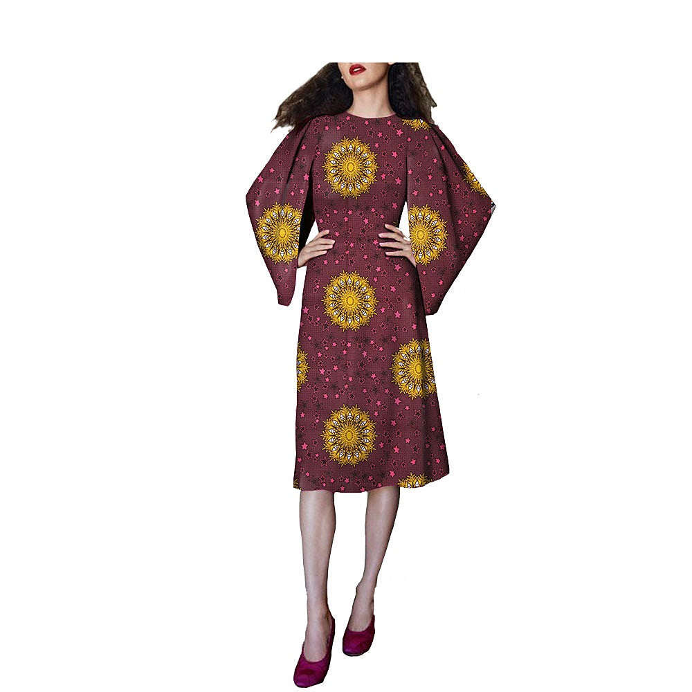 100% cotton--african real wax flower printed dress--722557-1