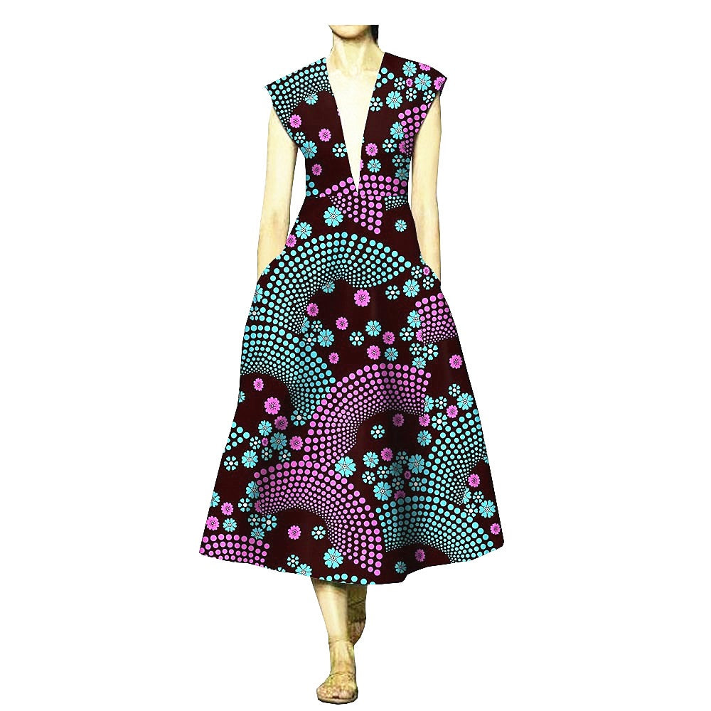 100% cotton--african wax geometric printed dress--1825060-3