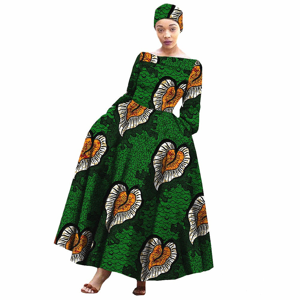 100% cotton--african real wax flower printed dress with head wrap--722559
