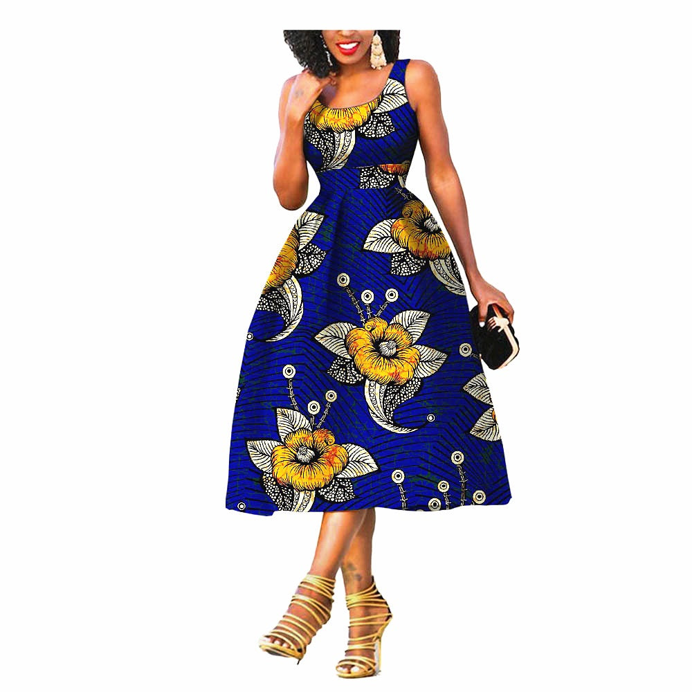 100% cotton dress--african wax flower printed--722534-1