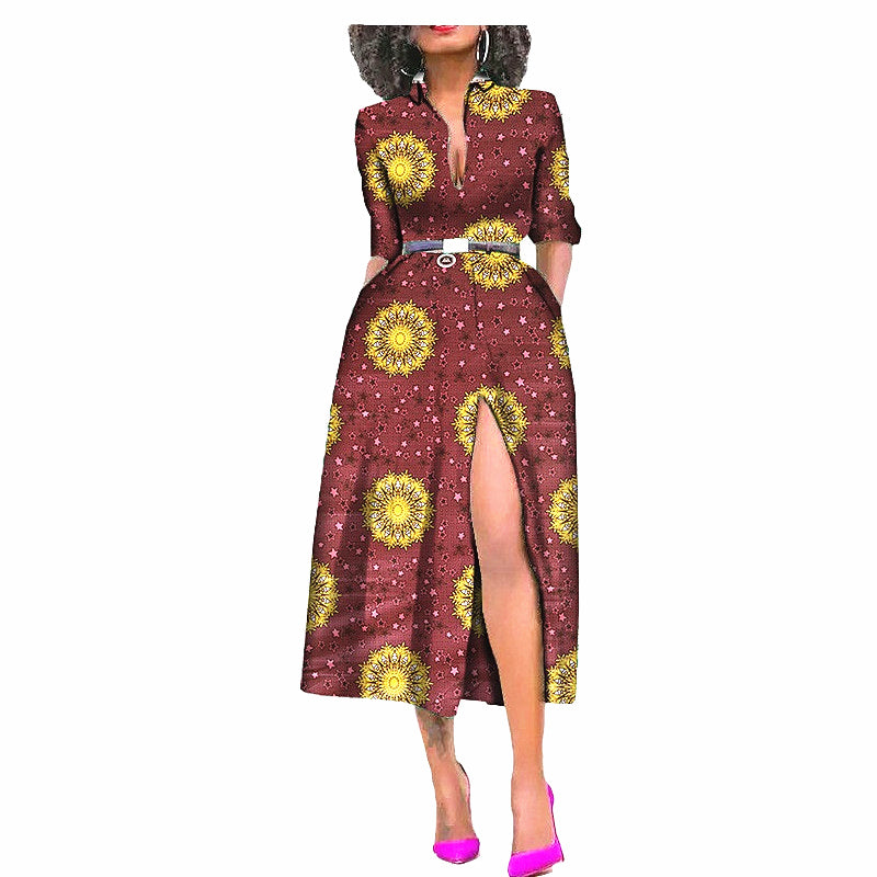 100% cotton dress--african wax geometric printed--722596