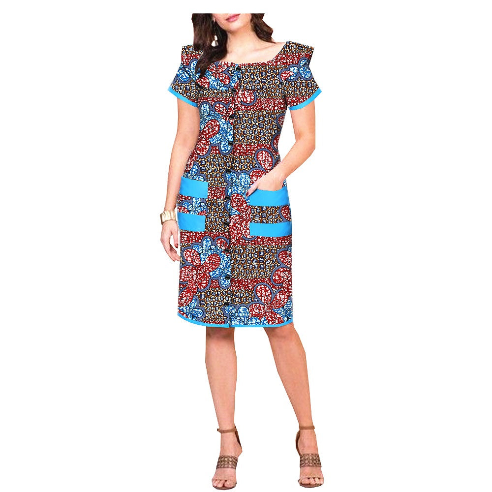 100% cotton dress--african wax leopard printed--1825098