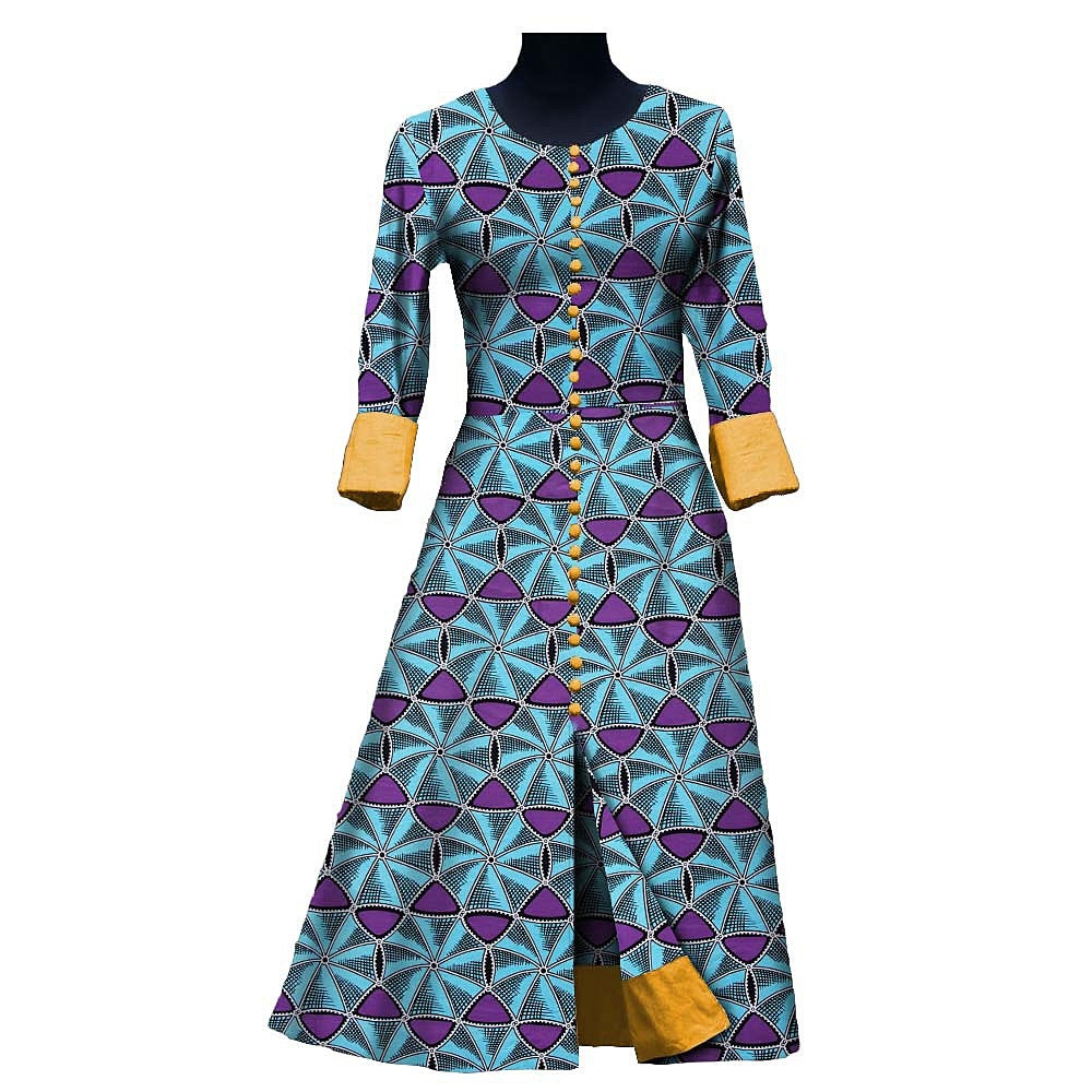 100% cotton dress--african wax geometric design printed--7225110-1