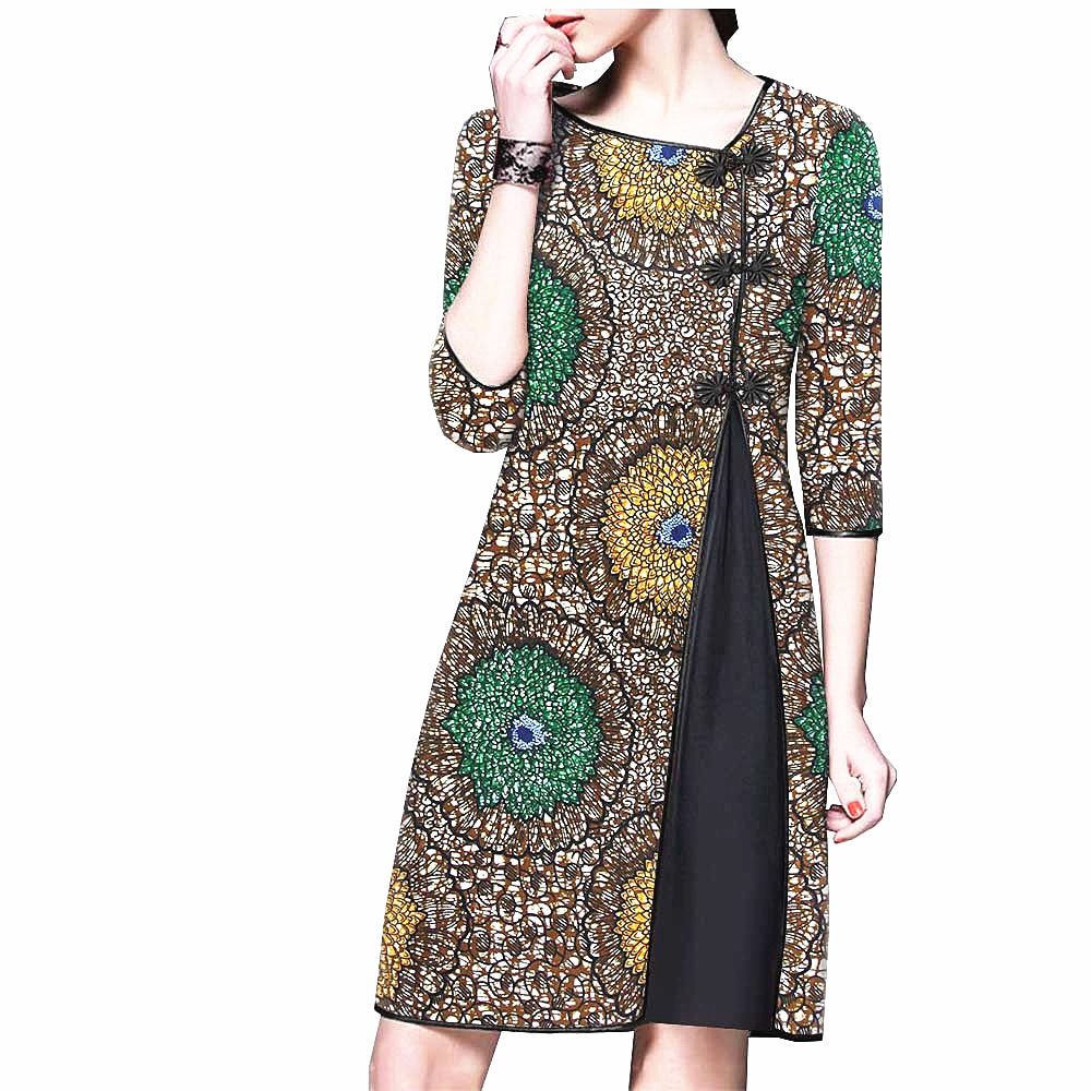 100% cotton dress--african wax flower printed--1825108