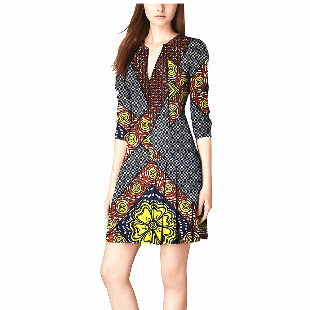 100% cotton dress--african wax flower printed--722540