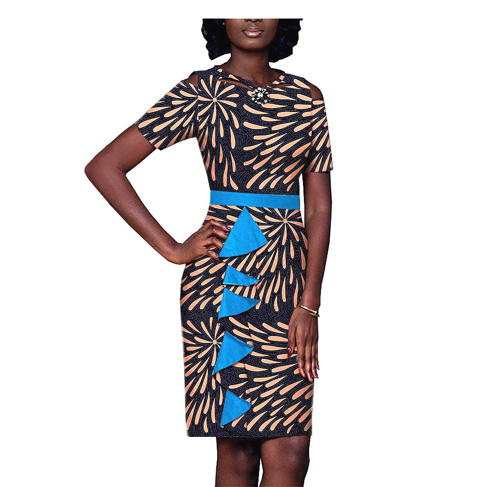 100% cotton dress--african wax geometric design printed--1925006-2