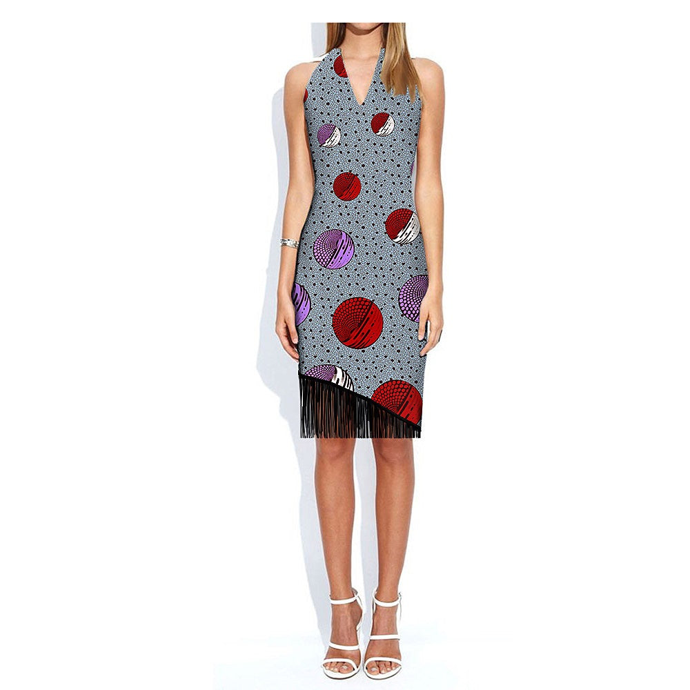100% cotton dress--african wax geometric design printed--722546
