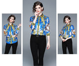 European style lady shirt--fit--pattern printed--blue yellow--HCX-3617