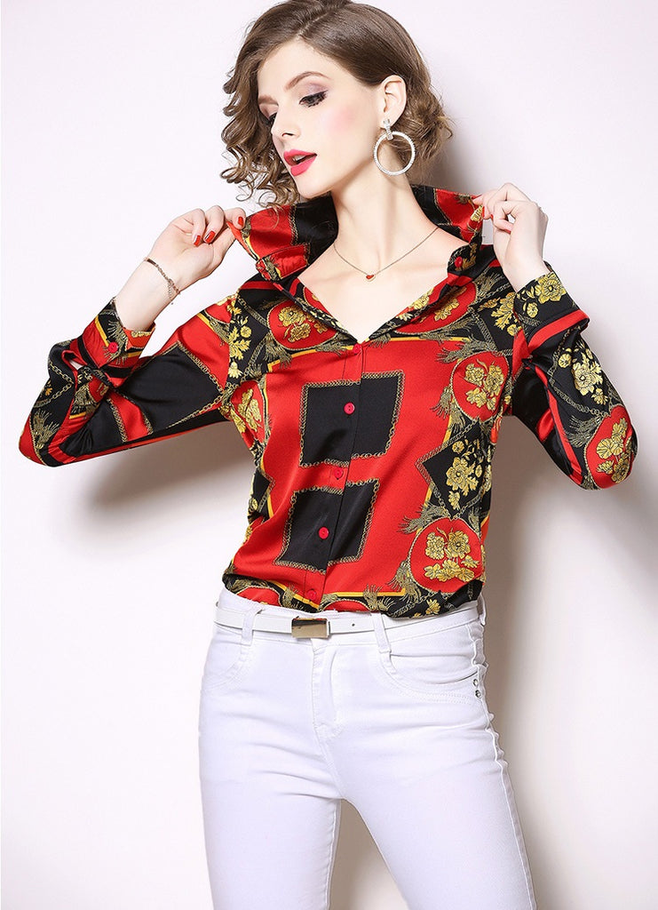 European style lady shirt--fit--pattern printed--red--HCX-2031