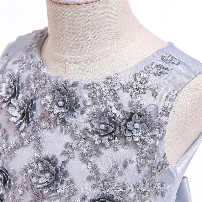 kid's party dress--height 110cm-150cm--3D embroidered flower--grey--L5061