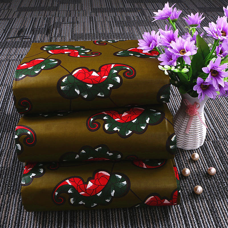 6 yard--100% cotton--super african wax flower printed fabric--green red--24FS1104