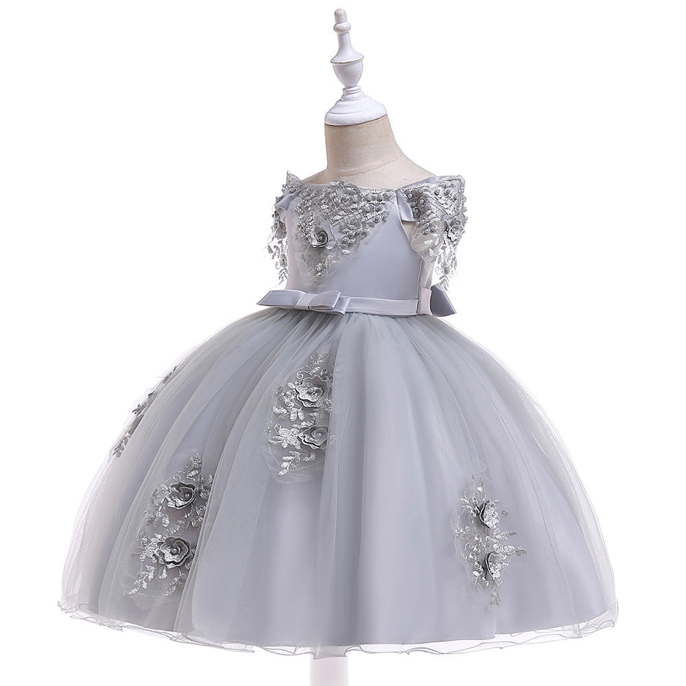 kids girl's party dress--height 110cm-150cm--lace flower--grey--L5057
