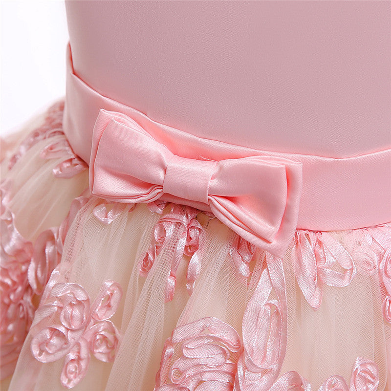 kid's party dress--height 110cm-150cm--embroidered flower--pink--T5096