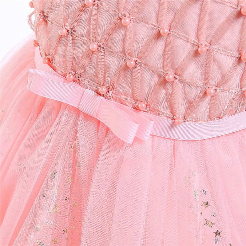 children party dress--3-8 years old--beads sprinkle--shell pink--L5098