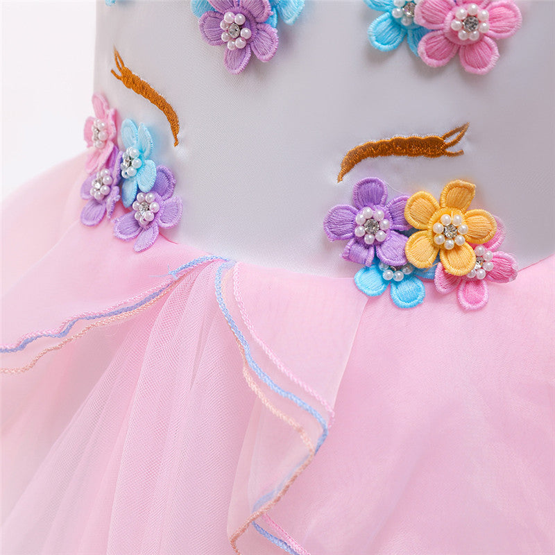 kid's party dress--height 110cm-150cm--unicorn--pink--DJS006