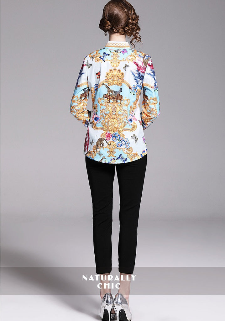 European style lady shirt--fit--flower printed--mustard blue--HCX-1078