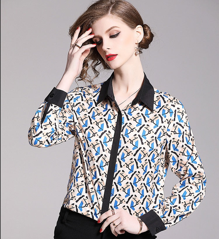 European style lady shirt--fit--pattern printed--blue black--HCX-5111