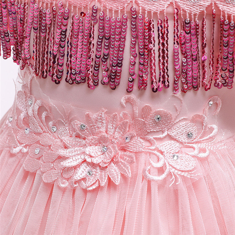 kid's party dress--height 110cm-150cm--flower beads--baby pink--L5048