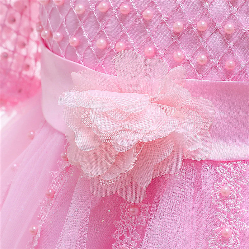 children party dress--height 110cm-150cm--lace beads--pink--L5115
