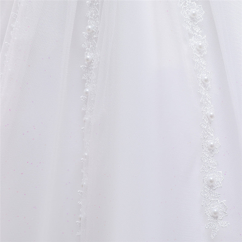 children party dress--height 110cm-150cm--lace beads--white--L5115