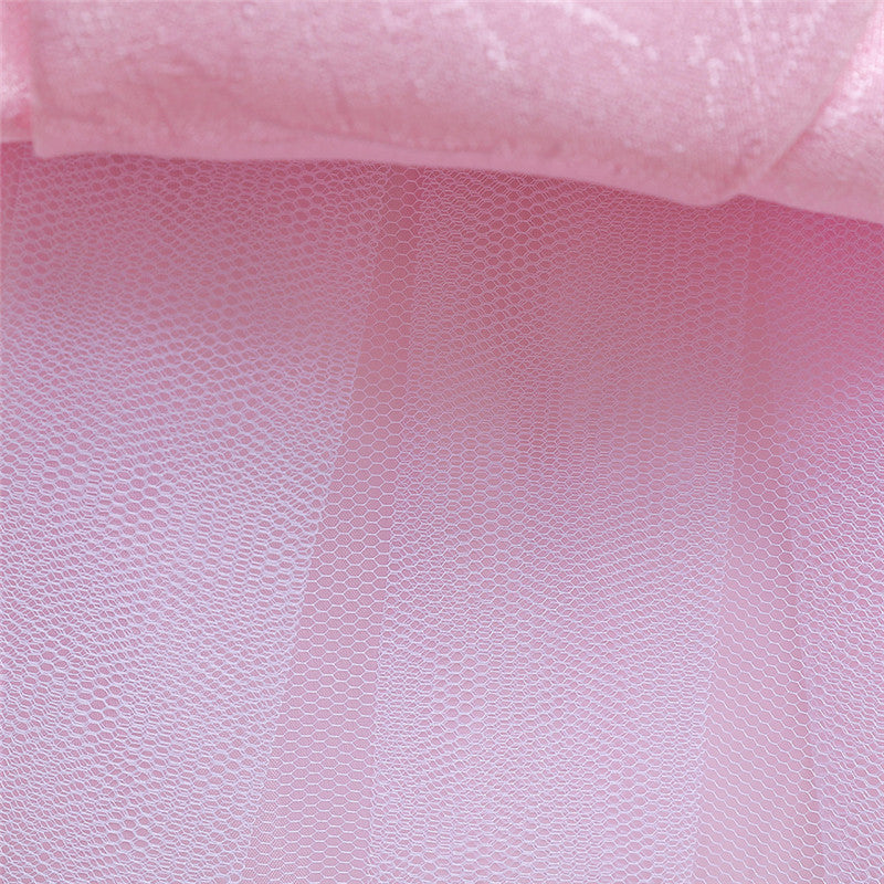 children party dress--height 110cm-150cm--beads flower--baby pink--L5123