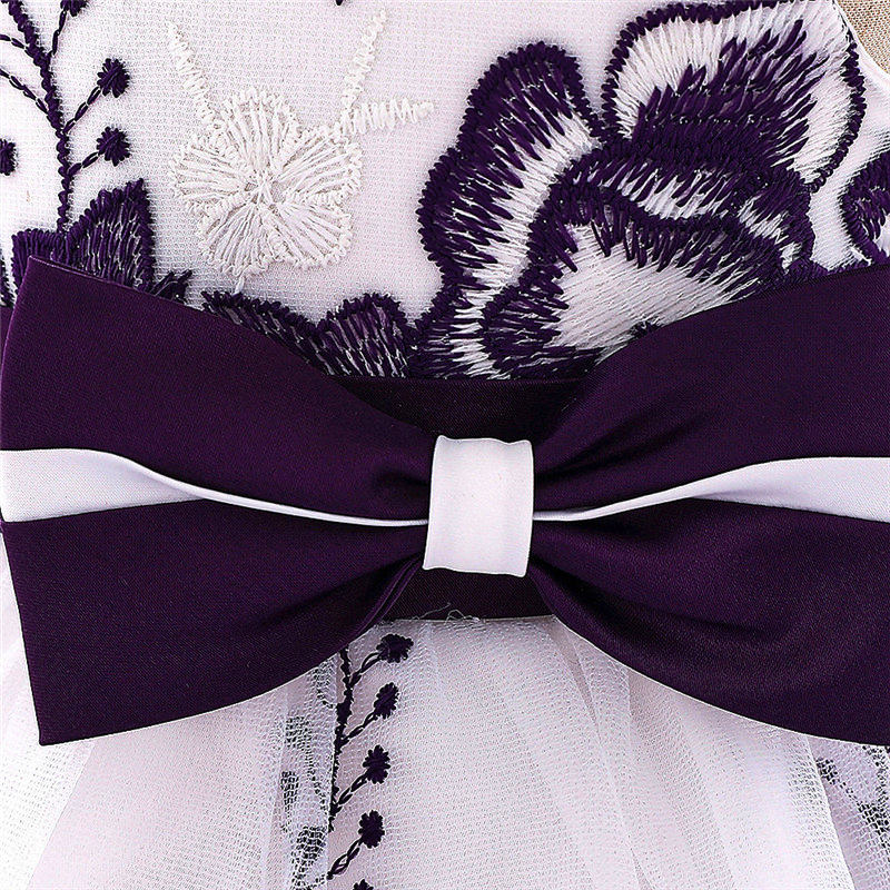 baby girl's party dress--height 60cm-90cm--embroidered flower--purple--L1907XZ