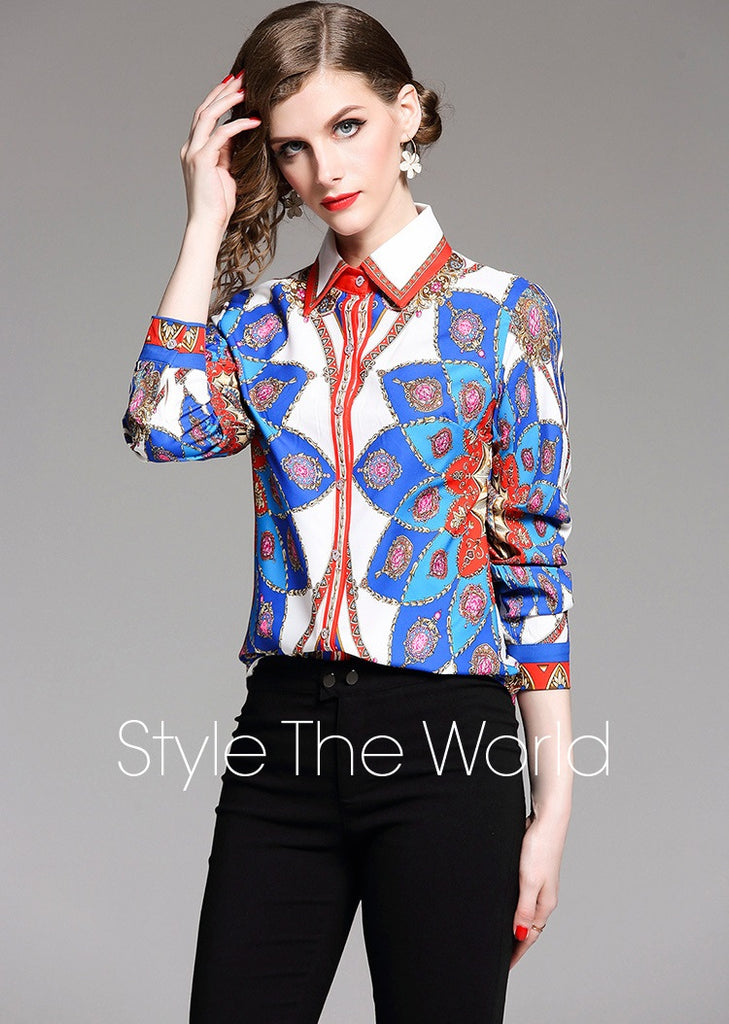European style lady shirt--fit--pattern printed--blue white--HCX-8037