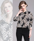European style lady shirt--fit--leopard star printed--black beige--HCX-1909