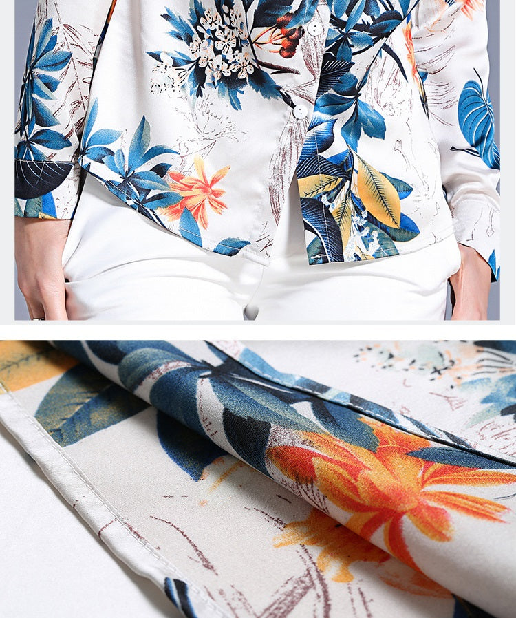 European style lady shirt--fit--leaves printed--blue white--HCX-8530 609