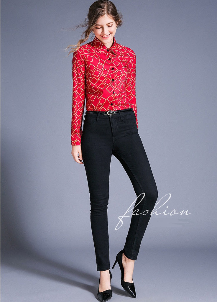 European style lady shirt--fit--pattern printed--red-HCX-8783 609