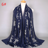 10 colors--flower-embroidered--cotton scarf,shawl, muslim hijab AW-BS394