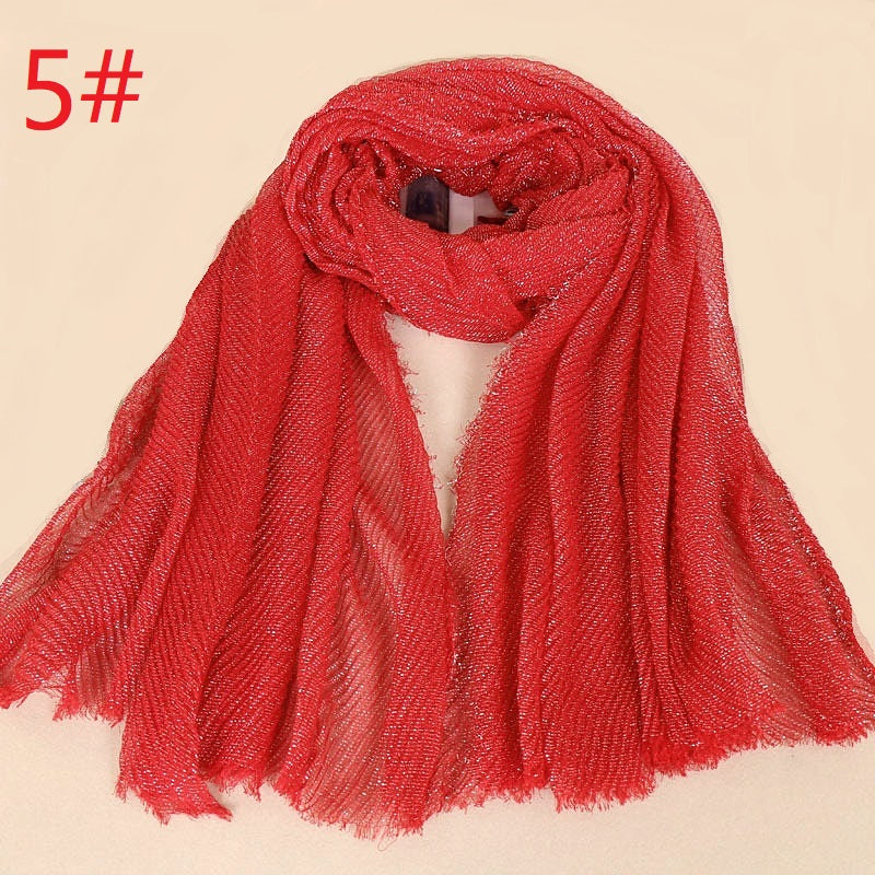 10 colors--shinning golden metallic yarn--wrinkle--cotton scarf,shawl,muslim hijab AW-BS465