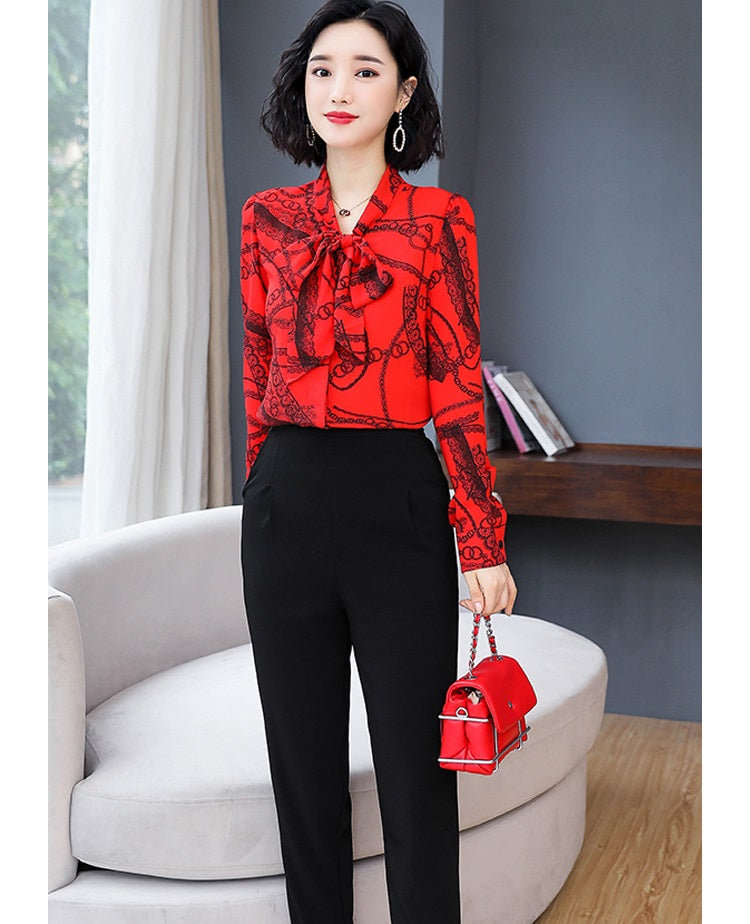 European style lady shirt--fit--pattern printed--silk--red white pink--HCX-7235