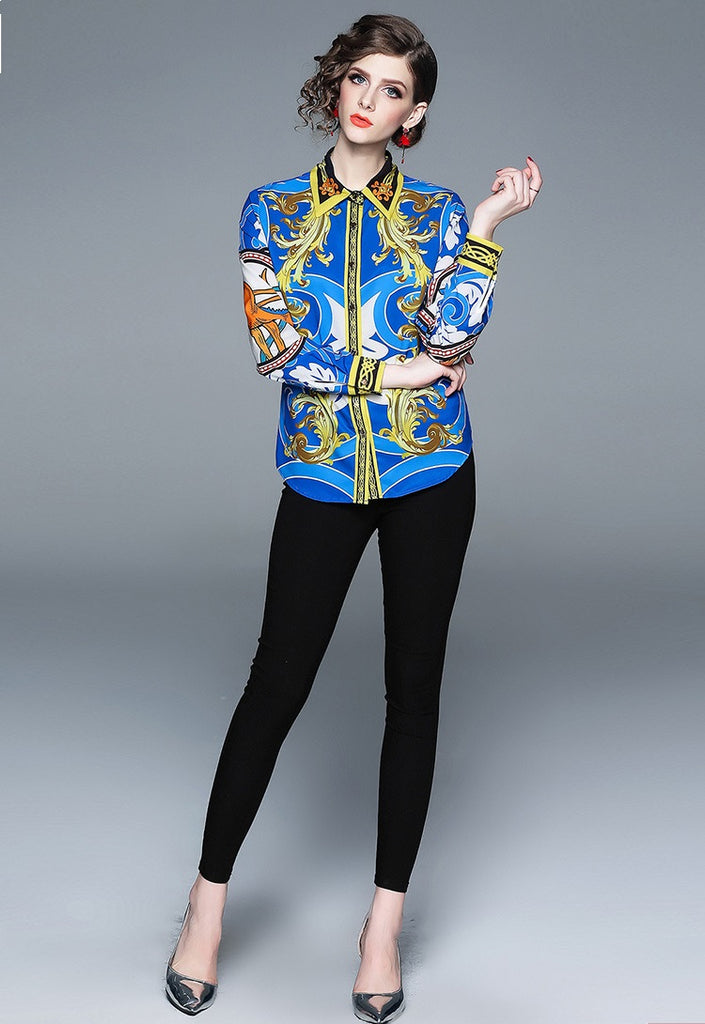 European style lady shirt--fit--pattern printed--blue yellow--YNSHCH-361701