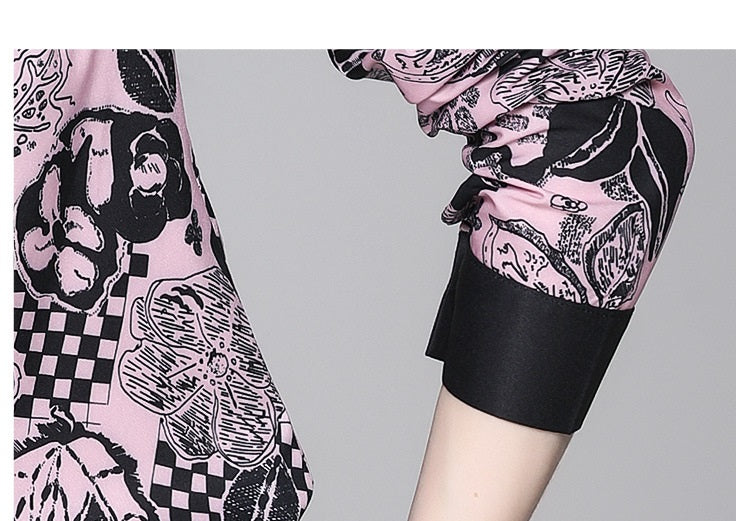 European style lady shirt--fit--pattern printed--black pink--HCX-1740 613