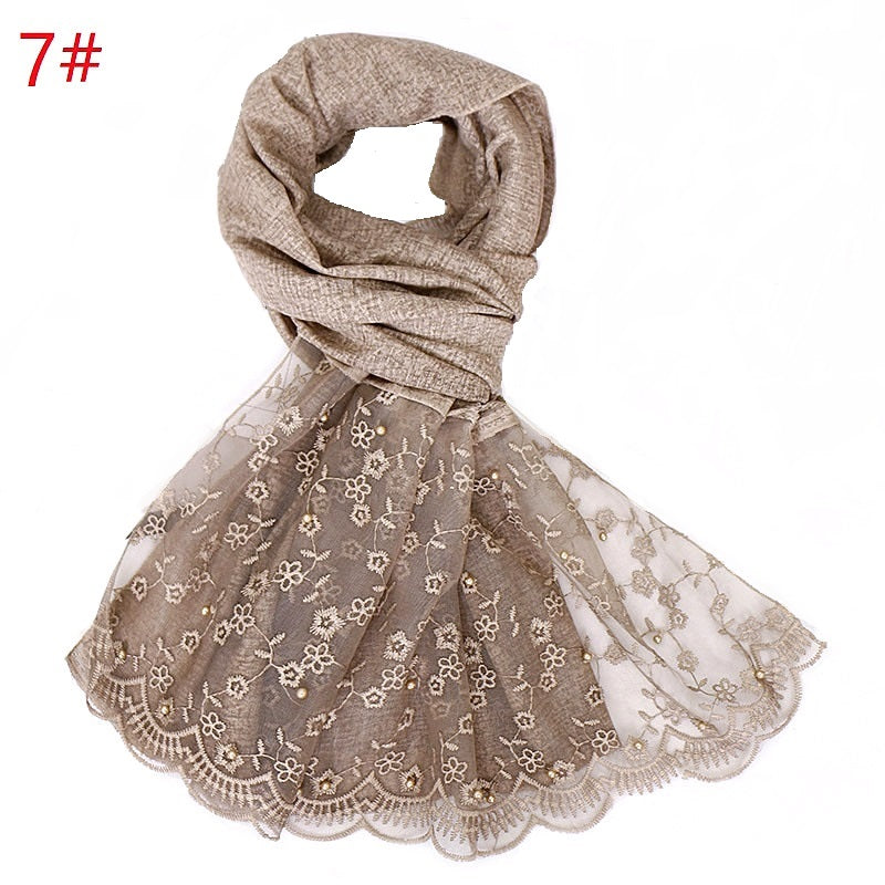 11 colors --lace flower--pearl--cotton scarf,shawl, muslim hijab  VS123