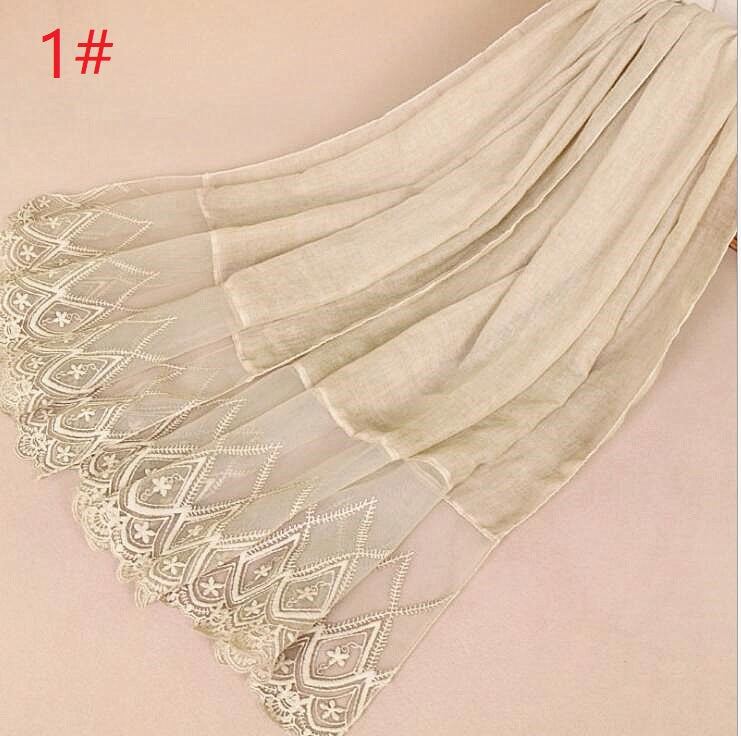 11 colors--lace attached--flower embroidered--cotton scarf,shawl, muslim hijab  AW-VS30