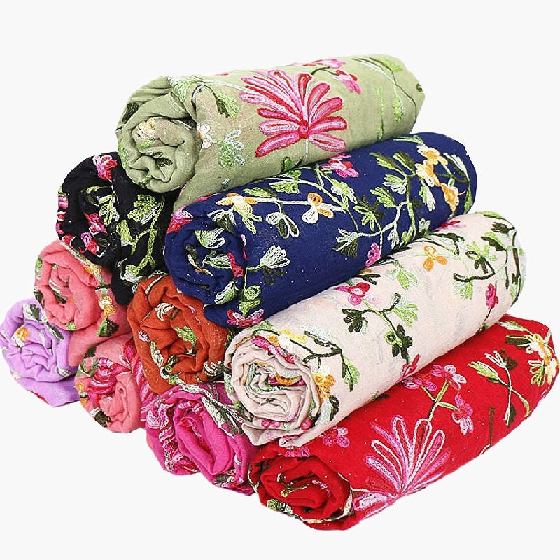 11 colors--flower-embroidered--cotton scarf,shawl, muslim hijab AW-VS127