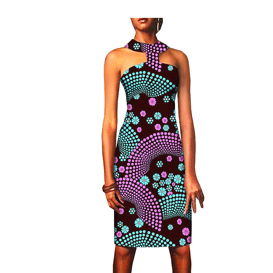 100% cotton dress--african wax geometric design printed--1825067-1